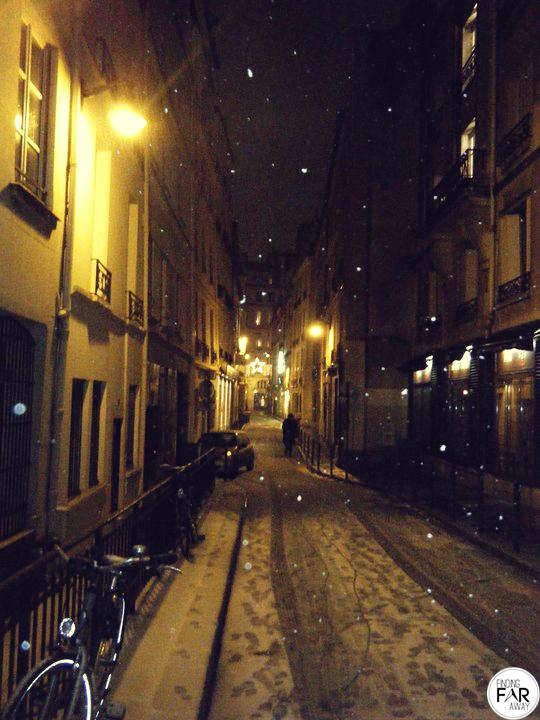 Snow covered Paris Streets