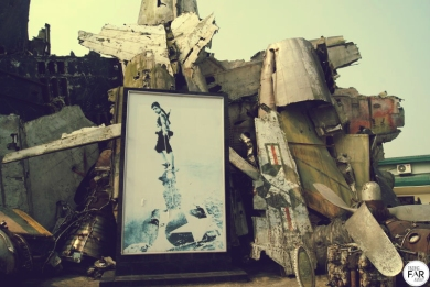 Sculpture like piece, made out of parts of planes and tanks. Little bit spooky.